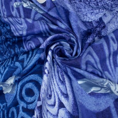 BVLGARI melsvai violetinis šilko skaros audinys