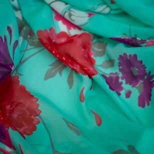 VALENTINO mėtinis gėlių šilkas