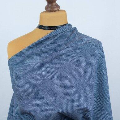 Mėlynai languota vilnelė su linu 2