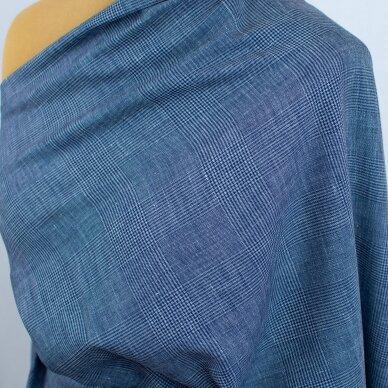 Mėlynai languota vilnelė su linu