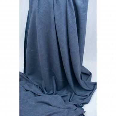 Mėlynai languota vilnelė su linu 5
