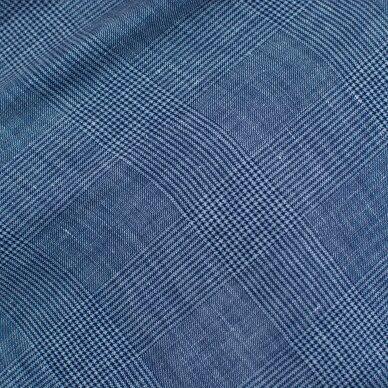 Mėlynai languota vilnelė su linu 6
