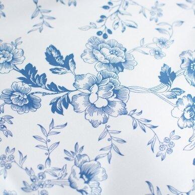 Mėlynų gėlių medvilnė su elastanu 5