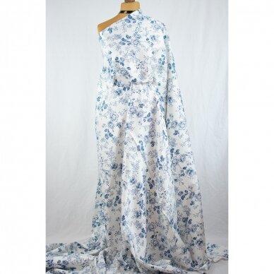 Mėlynų gėlių medvilnė su elastanu 3