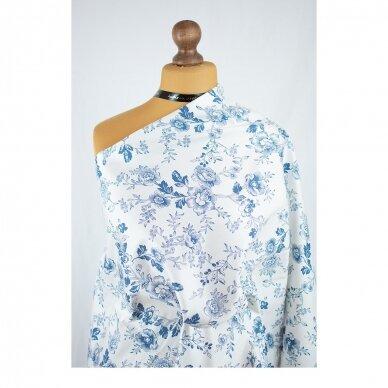 Mėlynų gėlių medvilnė su elastanu 2