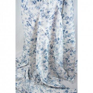 Mėlynų gėlių medvilnė su elastanu 4