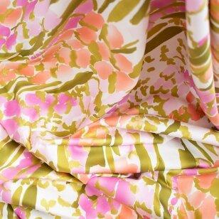 Pastelinių gėlių medvilnė su elastanu