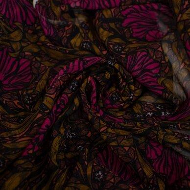 Tamsių gėlių VALENTINO šilkas 3