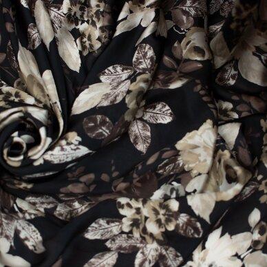 Tamsus rusvų gėlių ETRO šilkas